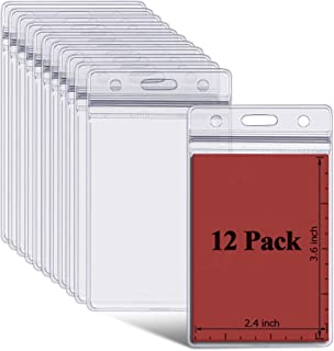 ID Badge Holder Vertical Name Tag Card Holders with Resealable Zip, Plastic, Waterproof, 12 Pack