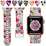 Laffav Floral Band Compatible with Apple Watch 44mm 42mm iWatch Series 4 3 2 1 for Women Men, Classic Flower, M/L