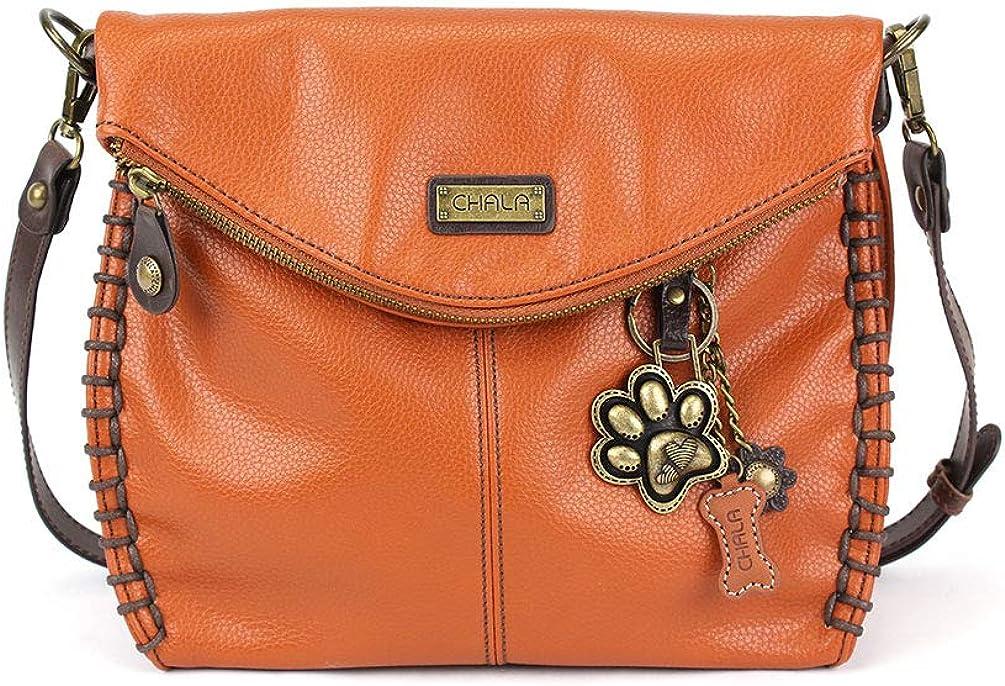 Chala Charming Crossbody Bag Cross-Body Purse or Shoulder Handbag with Metal Chain- Orange