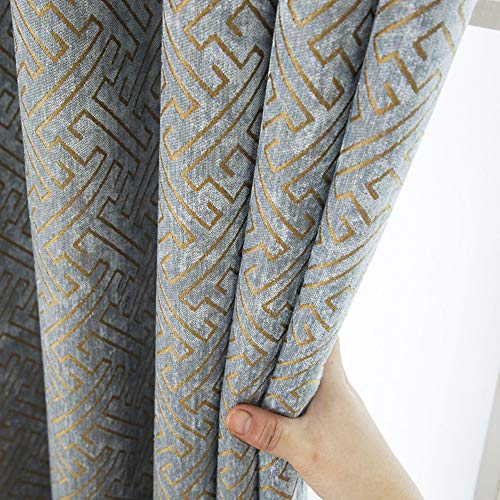 Jacquard Chenille Curtains Semi Blackout Geometric Modern Curtains for Living Room Bedroom 2 Panels Set (2 x 52 x 96 Inch,Blue and Gold)