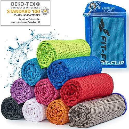 Cooling Towel für Sport & Fitness, Mikrofaser Handtuch/Kühltuch als kühlendes Handtuch für Laufen, Trekking, Reise & Yoga, Cooling Towel, Farbe: blau-dunkel Blauer Rand, Größe: 100x30cm
