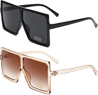Square Oversized Sunglasses for Women Men Flat Top...