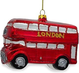 BestPysanky London Double Decker Bus Glass Christmas Ornament