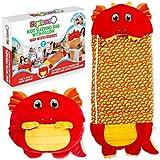 NapFrenz - Saco de dormir para niños con almohada 3 en 1 con diseño de dragón, peluche de dragón y saco de dormir para niños de 3 a 10 años