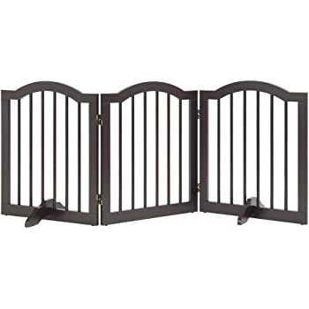 unipaws Freestanding Pet Gate with 2Pcs Support Feet, Foldable Dog Gate for Stairs, Pet Gate Panels, Decorative Indoor Pet Barrier with Arched Top for Small Dogs, Espresso