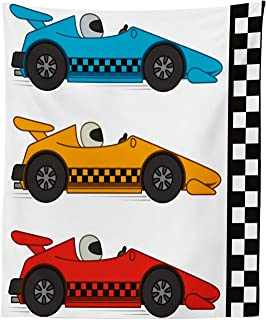 Lunarable Nursery Tapestry, Race Cars at Start Line Adrenaline Exotic Sports Championship Theme, Fabric Wall Hanging Decor for Bedroom Living Room Dorm, 23