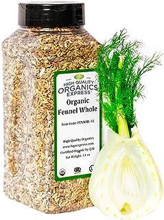 HQOExpress | Organic Fennel Seed Whole | 14 oz. Chef Jar