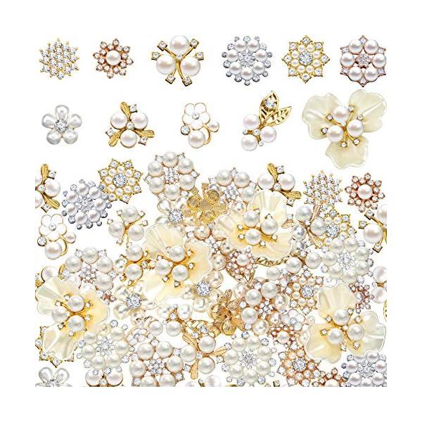 44 Pieces Pearl Rhinestone Buttons Rhinestone Faux Pearl Embellishments Pearl Brooch...