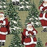 Fat Quarter Homespun Urlaub Santa und Bäume Baumwolle
