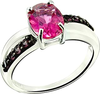 RB Gems Sterling Silver 925 Ring Genuine Gemstone Oval 9x7 mm, Rhodium-Plated Finish, Solitaire Style