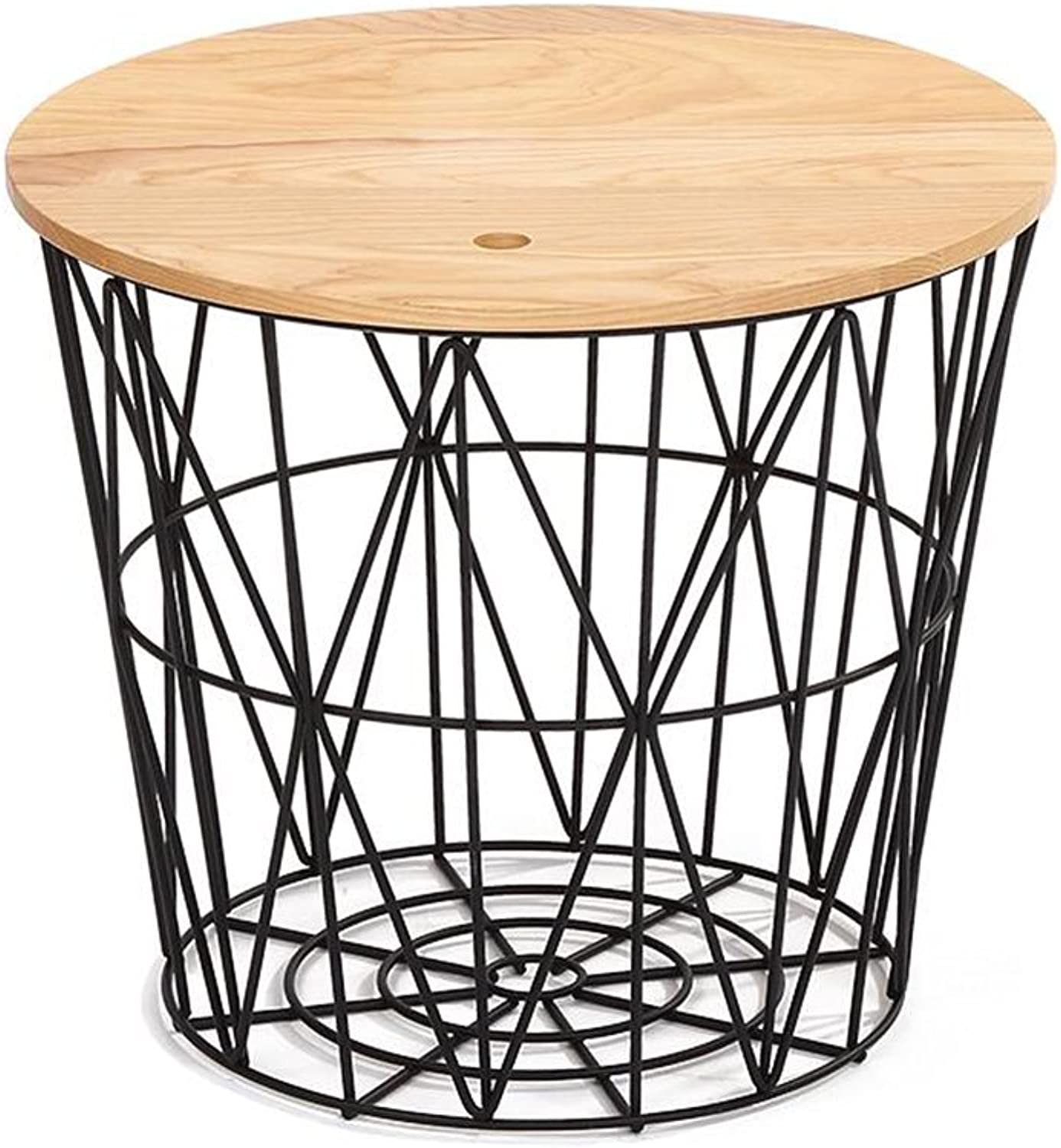 Coffee Table Sofa Side Table Modern Iron Round Table Bedside Table Corner (color   Black, Size   40  40  35cm)