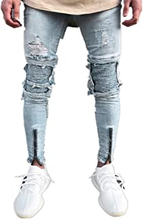 Pantaloni Uomo Strappati Jeans Skinny Lunghi Slim Fit Regular Leggeri Tasche Hip Hop Casual Selvaggio Vita Media ITISME De...
