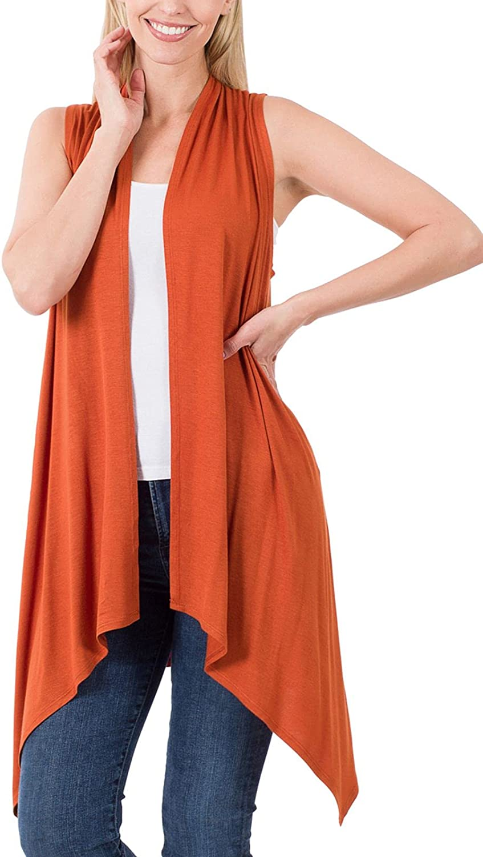 FashionMille Women Asymmetrical Draped Open Front Sleeveless Jersey Vest Cardigan   S-3XL