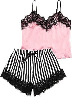 AGUIguo Women's Lace Satin Sleepwear Striped Lace Trim Pajamas Set Camisole Shorts Nightwear Set