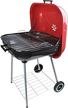 alp Classic Large Square 25x25 Charcoal Barbecue Grill Portable BBQ Heavy Steel W/Wheels Legs Ash Catcher Red/Black Color