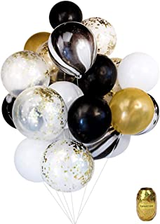 Yuccer Globos Confeti, Globos de Fiesta de Colores Látex Globos Transparentes para Aniversario Navidad Cumpleaños Boda Baby Shower Decoraciones 12 Pulgadas Globos Helio(B, 21 Piezas)