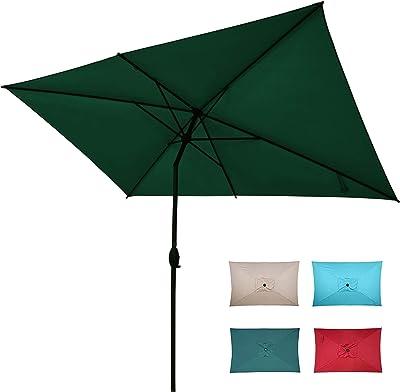 Abba Patio Rectangular Patio Outdoor Market Table Umbrella with Push Button Tilt and Crank, 6.5 by 10 Ft, Dark Green