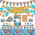 Blippi Party Supplies for Kids- BLIPPI Party Decorations, Birthday Decorations for Kids, Included Paper Plates, Cake Topper, Pennants, Paper Straws, Napkins, Knifes, Forks and Spoons (Set of 220pcs) from