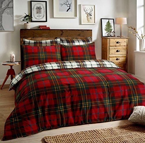 Sleepdown Juego de Funda de edredón y Fundas de Almohada Reversibles, diseño de Cuadros Escoceses durmiendo, algodón poliéster, Rojo, Matrimonio