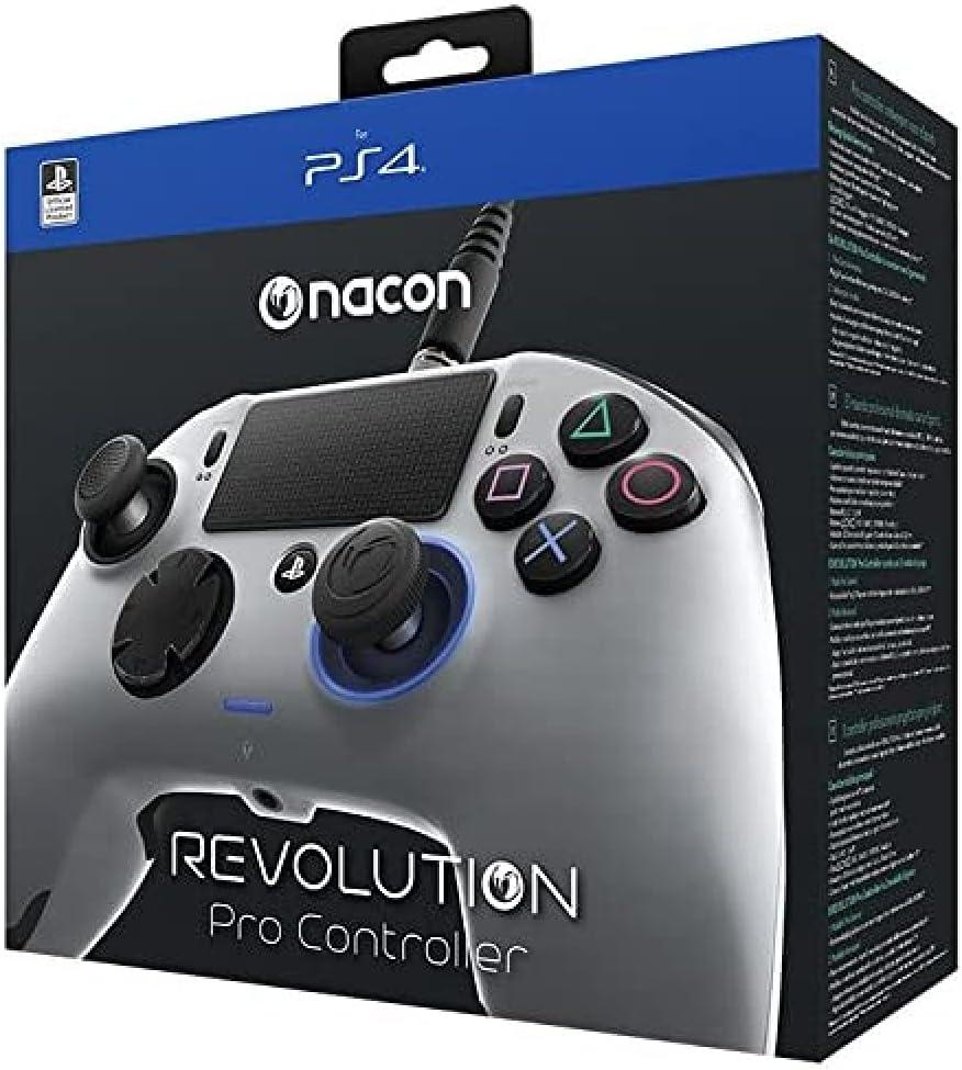 Nacon Revolution Pro Gamepad Playstation 4 Plata - Accesorios para Videojuegos (Gamepad, Playstation 4, Analógico/Digital, Hogar, Seleccionar, Parte, Azul, Alámbrico)