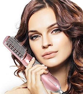 Cepillo de aire caliente giratorio 3 en 1, multifunción, cepillo de pelo para volumen, plancha de pelo, cepillo de volumen, secador de iones negativos, rizador para todos los tipos de cabello