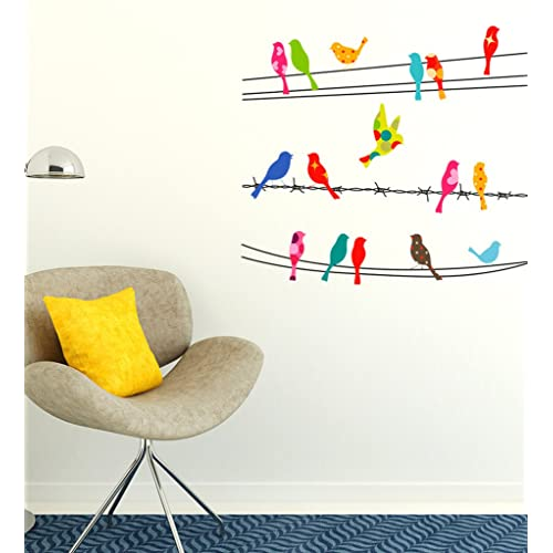 Decals Design 'Printed Birds Sitting on Cable Wires' Wall Sticker (PVC Vinyl, 60 cm x 45 cm x 1 cm),Multicolour