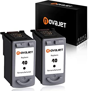 Novajet 2 PK Remanufactured Ink Cartridge Replacement for Canon PG-40 0615B002 (2 Black) Comptaible with Canon PIXMA MP150 160 450 460 MX300 IP1600 1800 2600