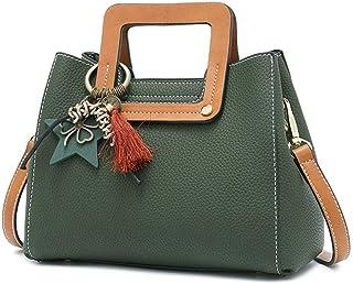 GLJJQMY Korean Fashion Handbag Casual Tide Bag Shoulder Messenger Bag, 23x12x19cm Hand Bag (Color : Green)