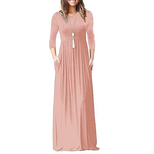 4c3e3f092931f ReoRia Women's 3/4 Sleeve Loose Plain Maxi Dresses Casual Long Dresses with  Pockets