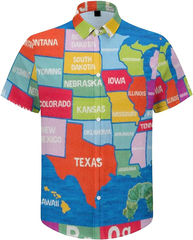 Men's Regular-Fit Short-Sleeve Printed Party Holiday Shirt USA Map Alphabet