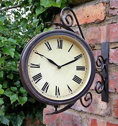 Warwick Outdoor Garden Clock With Thermometer And Swivel Station Bracket - 31.5cm