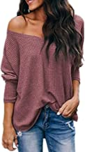Gifts for Women,Women Fashion Leaked Shoulder Solid Color Print Loose Bat Long Sleeve Top
