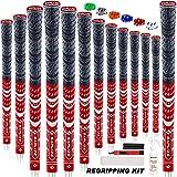SAPLIZE Golfgriffe 13-teilig mit komplettem Umrüstsatz, Standardgröße, Kordelgummi, Hybrid-Golfschlägergriffe, Rot