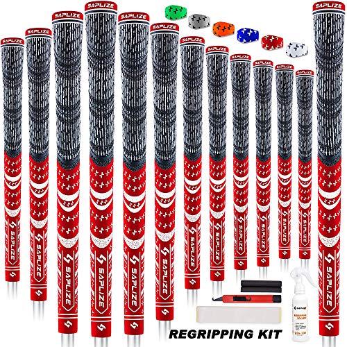 SAPLIZE Golfgriffe 13-teilig mit komplettem Regripping-Kit, Mittelklasse, Kordelgummi, Hybrid-Golfschlägergriffe, Rot
