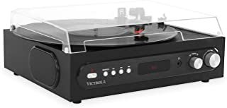 Victrola All-in-1 Bluetooth Record Player with Built in Speakers and 3-Speed Turntable Black (VTA-65-BLK)