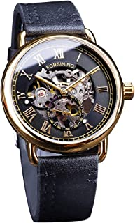 LUCAMORE Men's Classic Roman Index Mechanical Watch Automatic Skeleton Waterproof Hollow Wristwatch Leather Band Watches