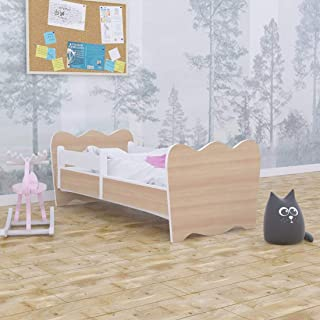 Toddler Bed Kids Bed Junior Children s Single Bed with Mattress Included  for Boys and Girls Crown  140x70  Pear