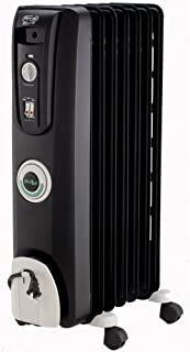 DeLonghi Oil-Filled Radiator Space Heater, Quiet 1500W, Adjustable Thermostat, 3 Heat Settings, Timer, Energy Saving, Safety Features, Nice for Home with Pets/Kids, Black, Comfort Temp EW7707CB