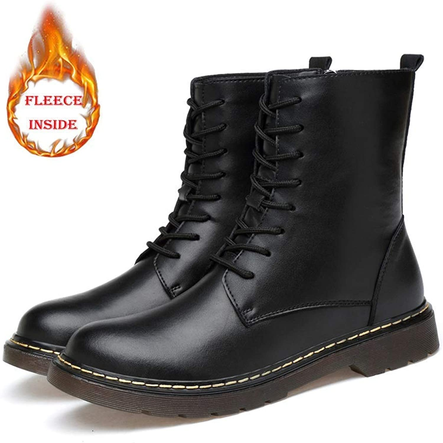 Men and Women Ankle Boots Casual Fashion Zipper and Fleece Warm Martin Boots (Conventional Optional) (color  Warm Black, Size  43 EU) (color   Warm Black, Size   45 EU)
