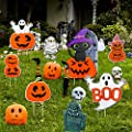 ABTOR Yard Signs for Halloween Decorations Outdoor 7 Pcs Yard Stakes Pumpkin Ghost Monster for Halloween Trick or Treat Party Outdoor Lawn Decor Props with Metal Stakes, Extra Large