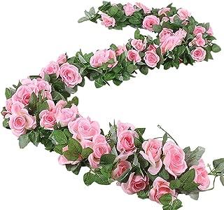 ELINSON Artificial Rose Vine Silk Flower Garland Fake Hanging Rose Plants Home Hotel Office Wedding Party Garden Craft Art Décor (Pink/2pcs)
