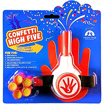 FiestaFive - Confetti High Five Handheld Toy Shooter with 6 Refills  Red/White