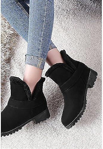 ZHZNVX Hsxz pour femme en similicuir Chaussures Chaussures d'hiver Bottes de neige Bottes Chunky Talon Bout Rond Chaussons Bottines pour bureau \ carrière Robe Beige Noir  marque