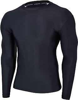 HUGE SPORTS Mens Rash Vest- UPF 50+ Rash Guard Long Sleeve Quick Drying Wetsuit Swimming Topfor Surfing BJJ Jiu Jitsu