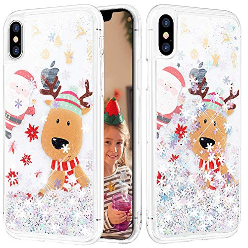 Caka iPhone Xs Max Case, iPhone Xs Max Christmas Glitter Case Snowflake Sparkle Fashion Bling Luxury Flowing Liquid Floating Cute Glitter Soft TPU Clear Case for iPhone Xs Max (6.5 inch) (Moose)