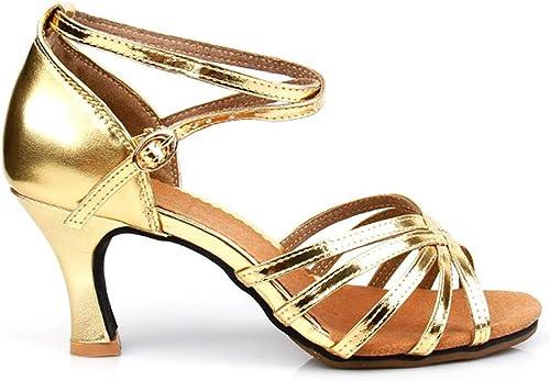 TTW Chaussures de Danse Latine 3.5cm   5.5cm   6.5cm   7.5cm mi Talon Chaussures Peep Toe Sandales Chaussures Femmes Filles pour la Danse Latine Moderne Samba Chacha,orHeel7.5cm,38