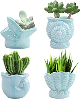 LUCKEGO 3.15 Inch Ceramic Succulent Pot,Cute Ocean Blue Seashell Series,Conch Shaped Cactus Pot Planter, Flower Pot, Pottery Bonsai Pot,Ceramic Flowing Glaze Base Serial Set,Pot with A Hole(4 in Set)