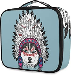 Travel Makeup Case Husky Dog Portrait With Native American Indian Chief Headdress Cosmetic Makeup Bag Toiletry Bags With Compartments