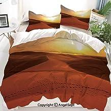 Juego de Funda nórdica Decor Desert, Foots on Sand Dunes at Sunrise Hot Dubai Landscape Travel Destination, Juego de Cama Decorativo de 3 Piezas con 2 Fundas de Almohada