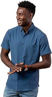 Men's Leeward No Tuck Button Down Short Sleeve Shirt,...